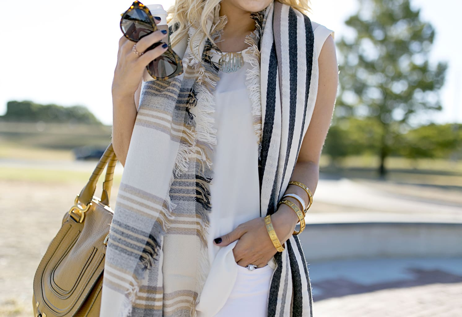 weekend faux turtleneck necklace fur julie manicure michael vos vest uniform paintbox kors watch bows striped sequins