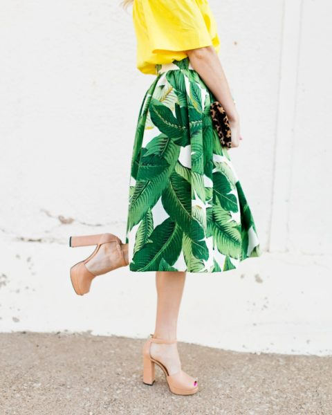 Palm Print Skirt