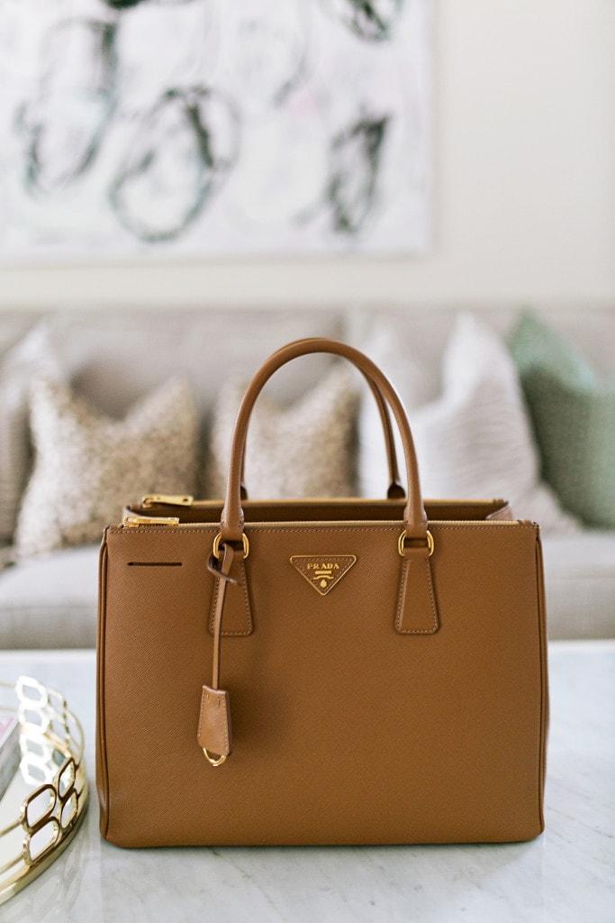 Bag  Prada Saffiano Double-Handle Tote   Leopard Pillow  Arianna Belle   Bag  Contents  Down Below ceb30bd050a6