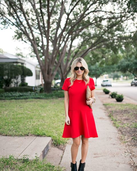 Red Dress & Statement Clutch