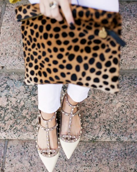 Yellow Sweater & Valentino Dupe Flats