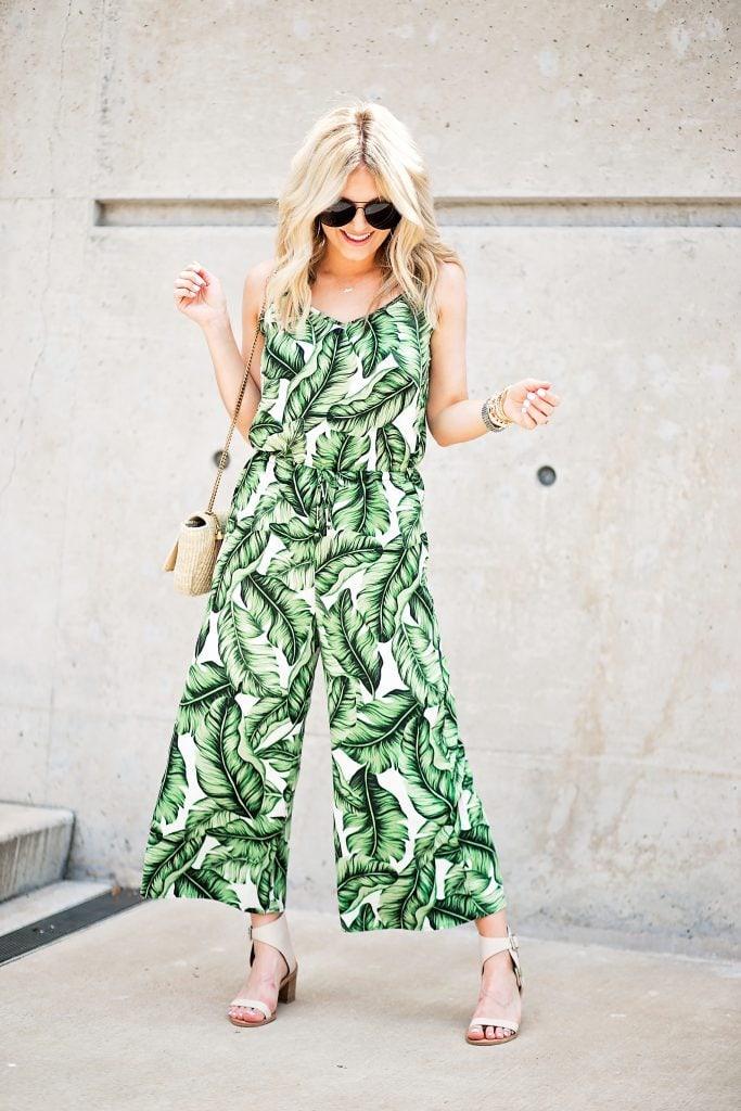 katey mcfarlan palm print jumpsuit