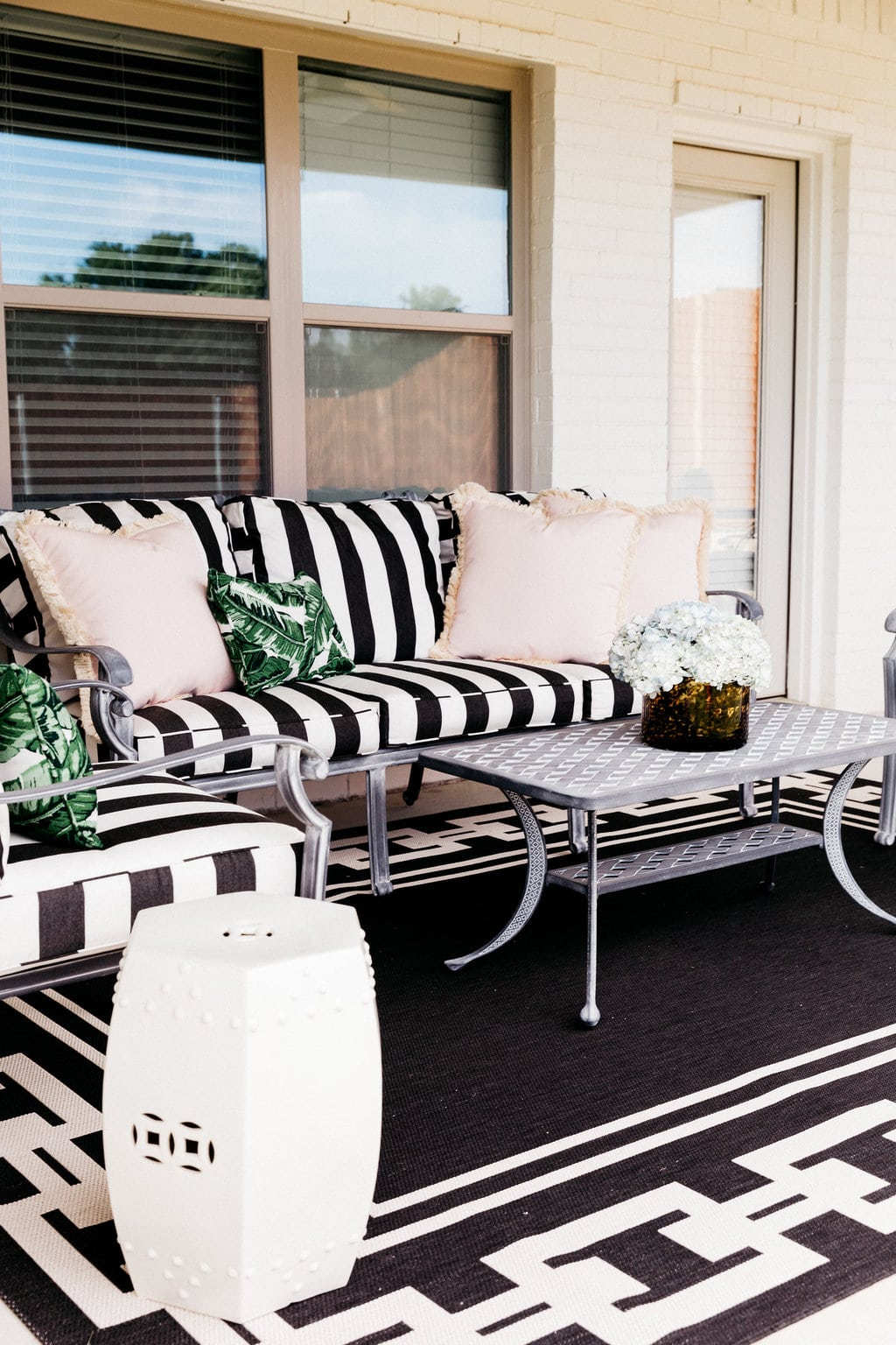 Dining Table U0026 Chairs | Sofa | Side Chairs | Coffee Table | Cushions | Pink  Pillows | Palm Pillows | Rug | Tortoise Vase | Miles Redd Garden Stools |  Pram ...