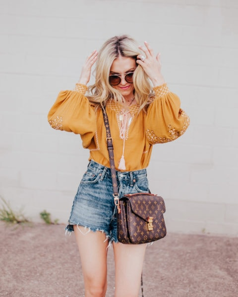 Boho Blouse + Denim Shorts