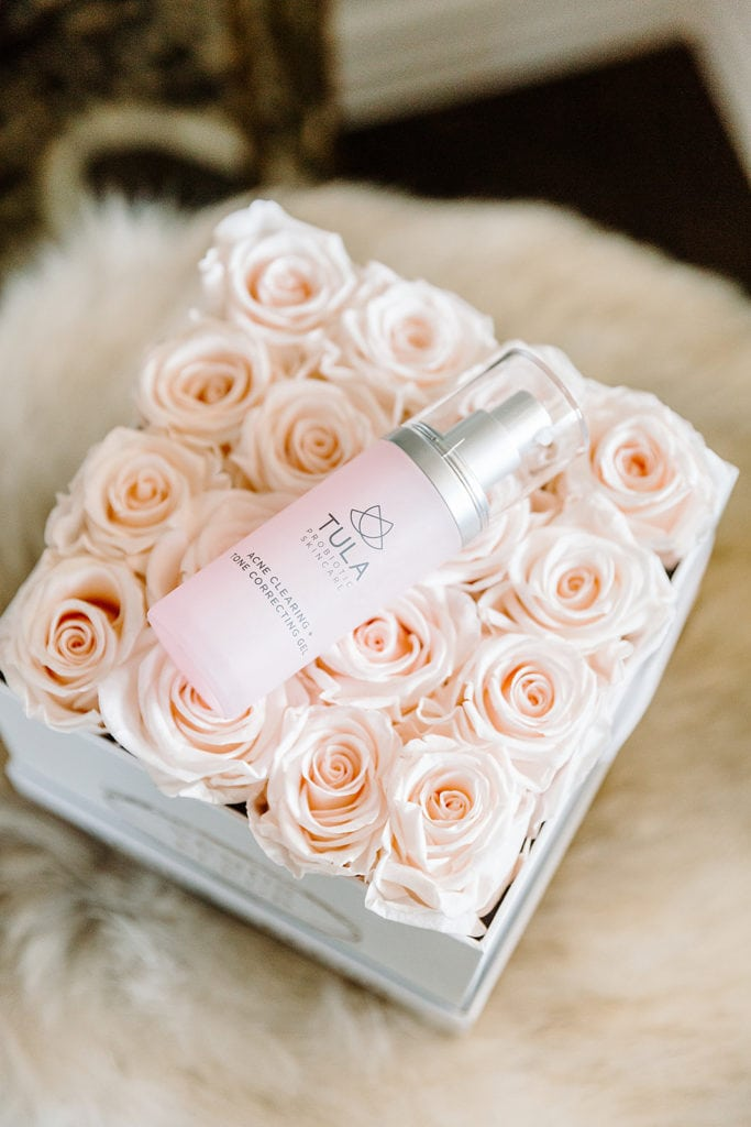 Tula Acne Gel on Pink Roses