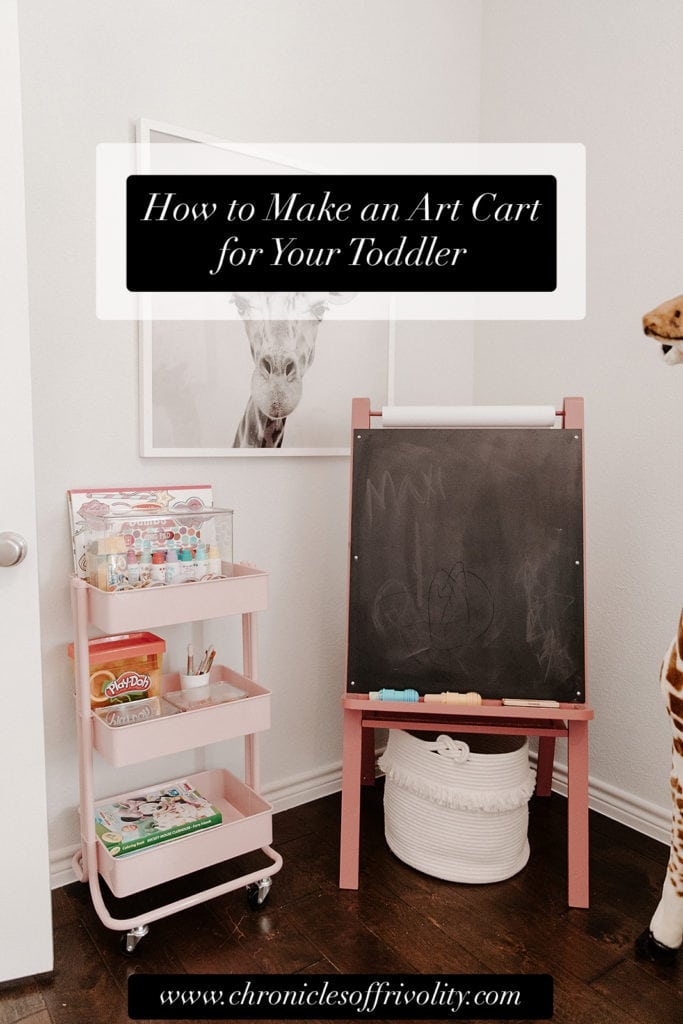 pink art easel and art cart